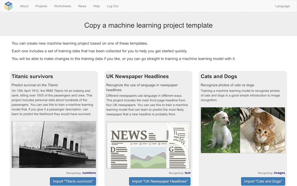 Curated sample training datasets for Machine Learning for